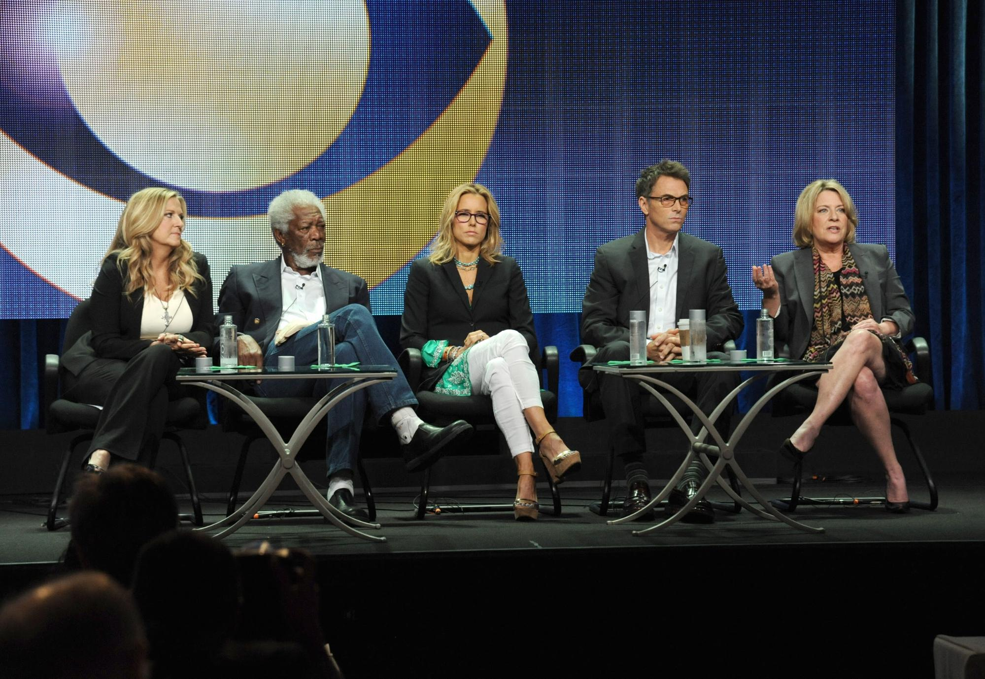 Lori McCreary, Morgan Freeman, Tea Leoni, Tim Daly, Barbara Hall. Beverly Hills, California.